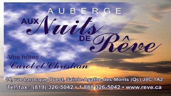 Auberge aux Nuits de Reve: Carte d'affaires