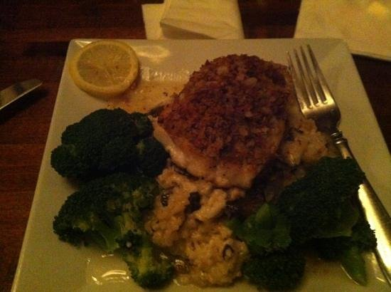Harpoon Willy's: crusted sea bass with mushroom risotto