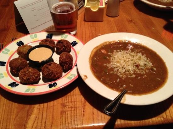Malone's Steak & Seafood: gumbo and crab fritters.