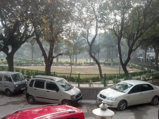 view of beautiful park outside our balcony at Megha Homestay
