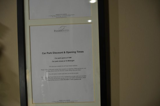 Fraser Suites Glasgow: Car Park Discounts and opening times (Besides Hotel)