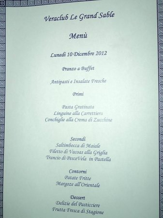Veraclub Le Grande Sable: un menu