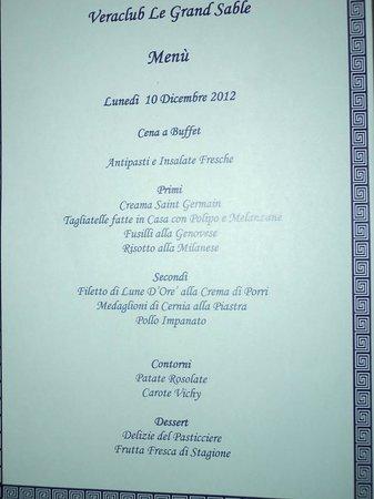 Veraclub Le Grande Sable: altro menu