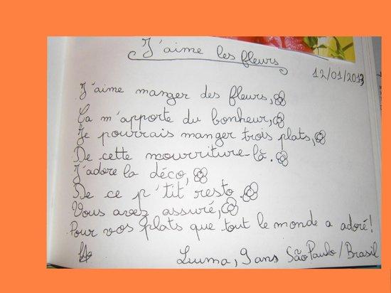 Charmant témoignage Livre D'or Tamarillos
