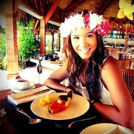 The St. Regis Bora Bora Resort: me at te pahu and my lovely floral crown one of the girl made for me :)