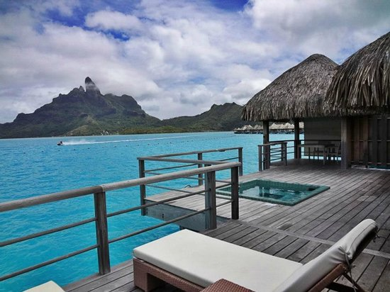 The St. Regis Bora Bora Resort: the infamous private whirlpool and gazebo on our deck