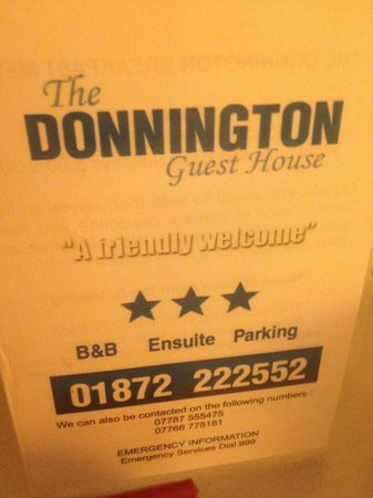 The Donnington Guesthouse: A friendly Welcome