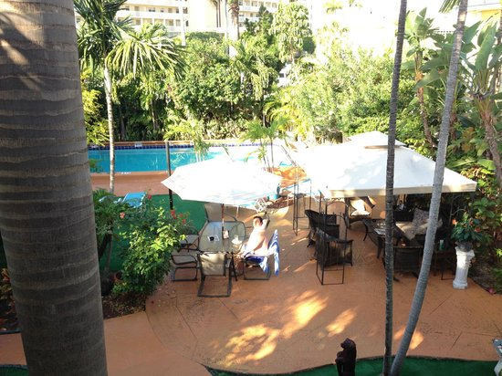 Grand Palm Plaza : Garden and pool area, as seen from our room door