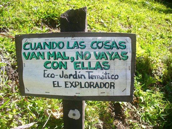 El Explorador Gardens: Uno de los letreros del jardín