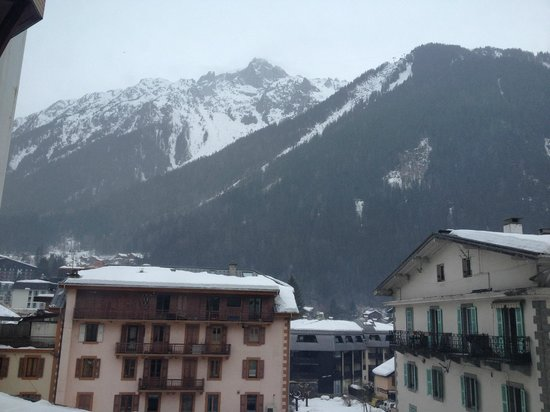 Alpina Hotel:                                     view from hotel room (on less snowy/cloudy morning)
