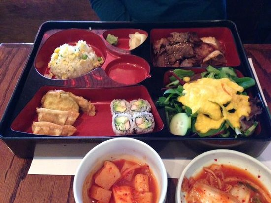 Lee's Sushi: Kal Bi Tang boxed lunch.  $13 and you get plenty of great food.