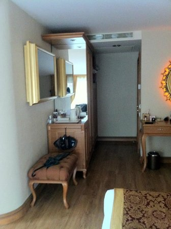 Hotel Sultania:                   spacious closet, TV in the mirror, complimentary tee&coofeey