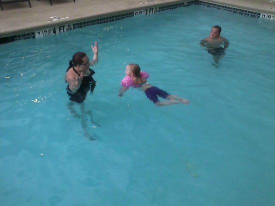 Quality Inn: kids and grandkids enjoying the pool area