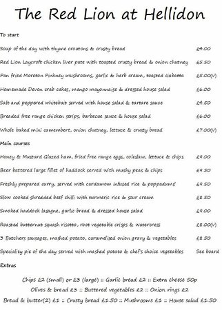 The Red Lion: Menu part 1
