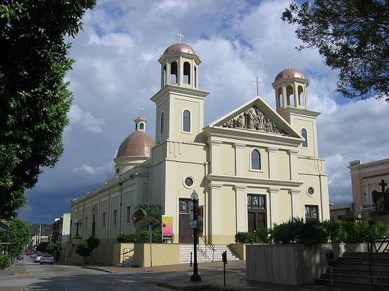 Mayaguez, Puerto Rico: The Catholic Cathedral, at the other end of the square.