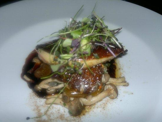 Restaurant Unico : Gråand fra Gyllingenæs med røget nødder og urter, spidskål, svampe, abrikoser og foie gras :-)