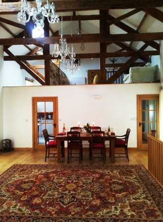 East Trenean Farm Luxury Holiday Barns: View from Living Area to mezzanine level in Threshing Barn