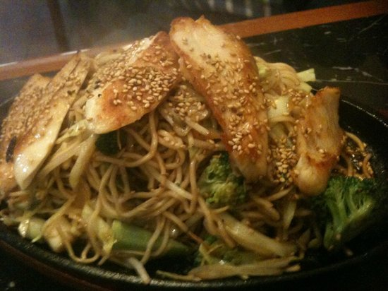 Mikado Sushi Japanese: Chicken Yaki Soba served sizzling on a piping hot plate