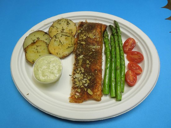 Cal-Bob's Smoke Shack: Smoked Atlantic Salmon Almond Crusted w/ Olives Capers dippin Sauce