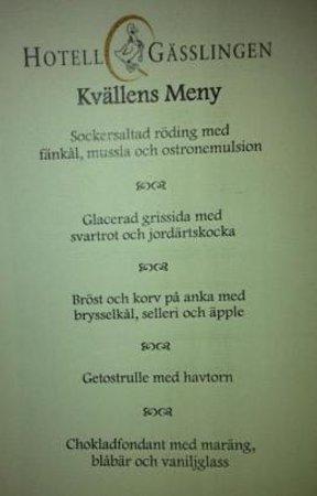 Hotell Gasslingen: Menyn för kvällen