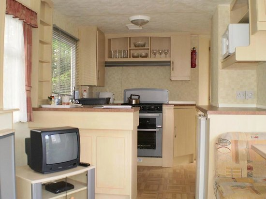 Trees Caravan Park: Pine tree caravan - view of lounge and kitchen area