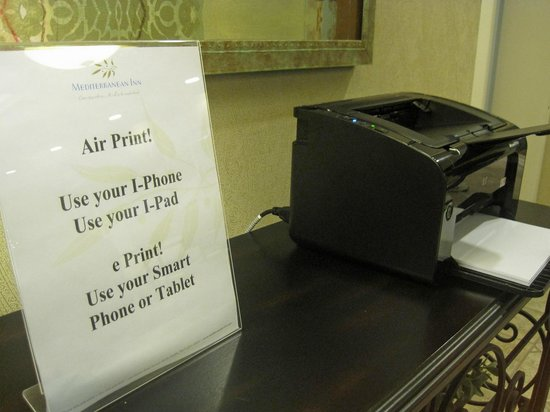 Mediterranean Inn: Printer Usage