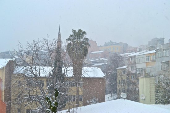 Kumru Hotel: View from one of our windows on a snowy day.