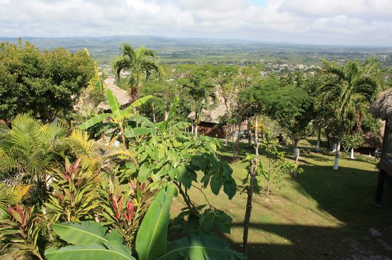 Cahal Pech Village Resort: View over the cabanas to San Ignacio