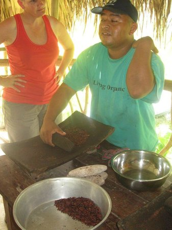 IXCACAO Maya Belizean Chocolate: Juan explaining Maya Chocolate making.