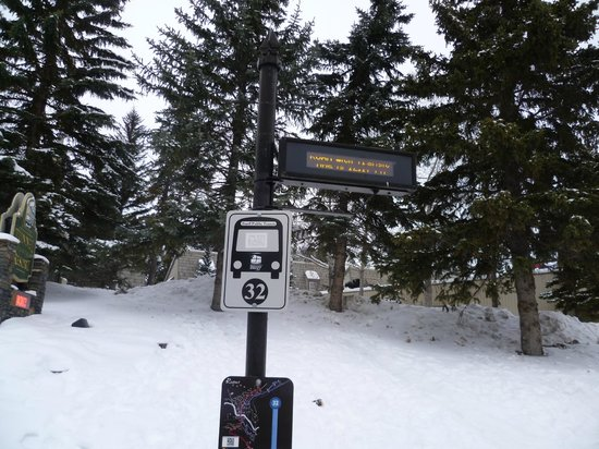 HI-Banff Alpine Centre: The electronic bus stop at the end of the hostel driveway clearly showing how many minutes left!
