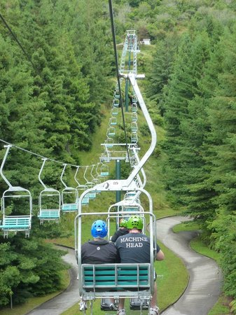 Skyline Rotorua Chairlift From The Bottom Of Luge To Top