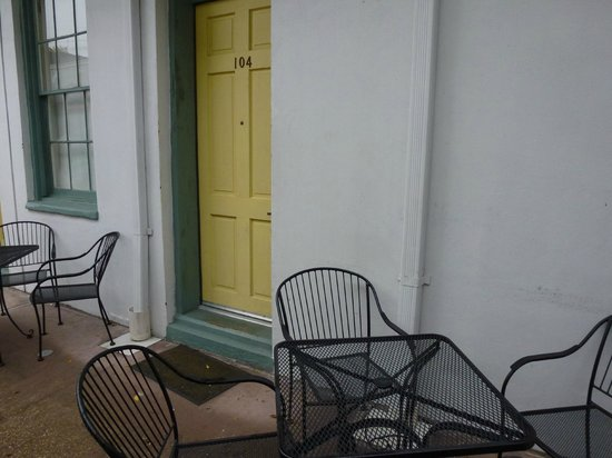 Prytania Park: My room door and one of the outdoor courtyards