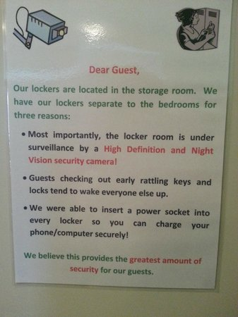 Adventure Queenstown Hostel: thoughtful notice to the guest.