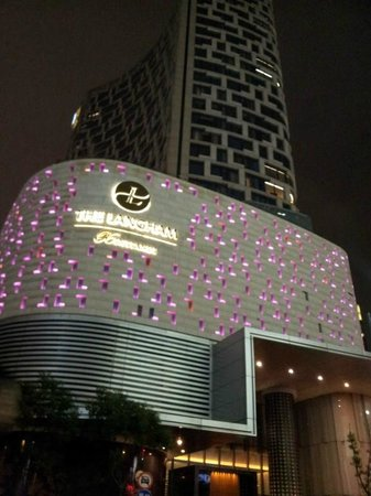 The Langham Shanghai Xintiandi: The hotel building at night