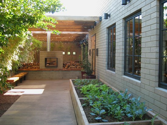 The Parlor Pizzeria : The back entrance with herbs
