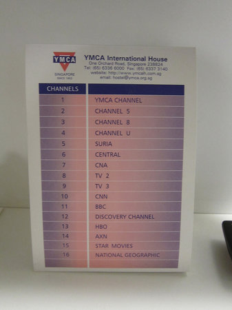 YMCA One Orchard:                                     TV channels