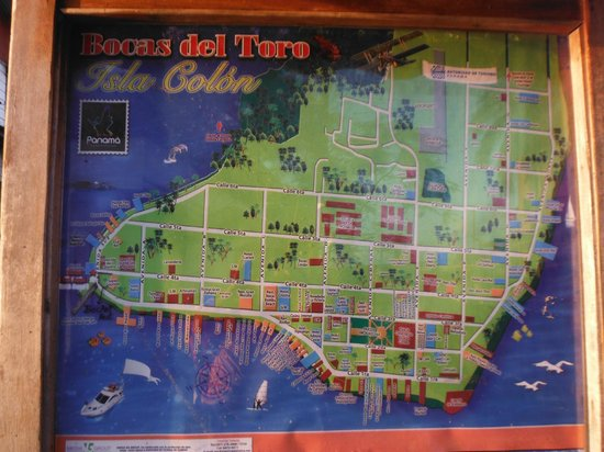 Map of Bocas Hotel Olas to the far left