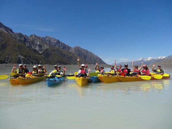 Southern Alps Guiding: Kayaking on Lake Tasman, what a hoot.