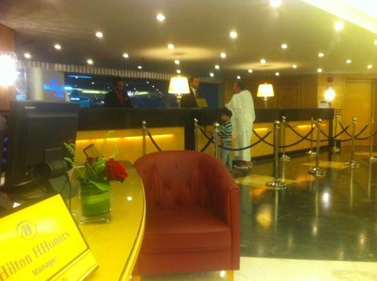 Makkah Hilton Towers: view from managers desk of reception