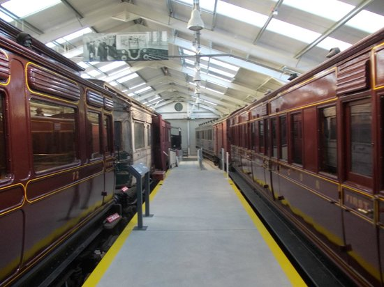 Downpatrick & County Down Railway: Downpatrick - Hall with old train carriages