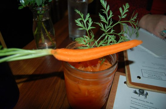 "Oyster Club:                   'Today's cocktail' ""The Bugs Bunny"" fresh carrot juice, Espolon Blanco tequila"