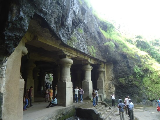 Elephanta Caves: entrance to one of the caves
