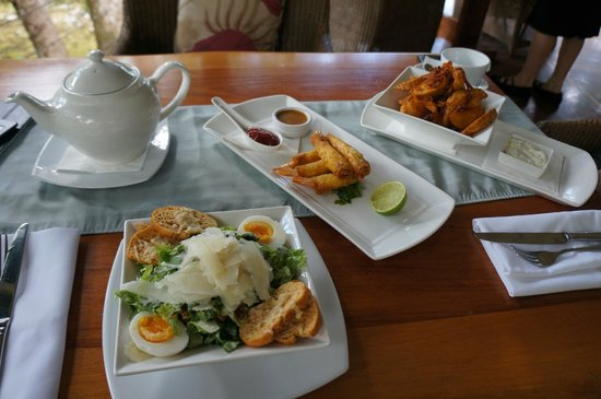 Silky Oaks Lodge:                                     Afternoon tea of Caesar salad, prawn rolls, potato skins