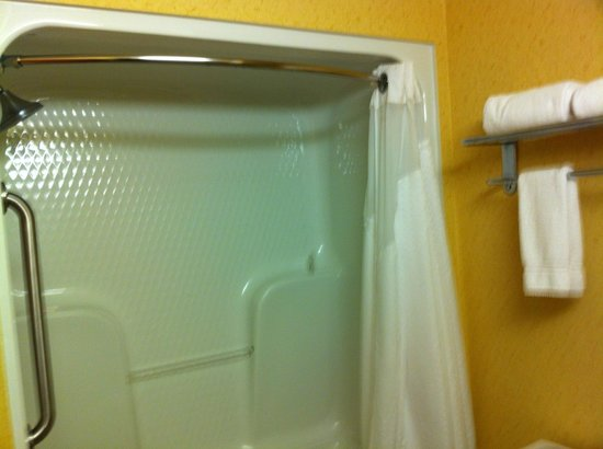 Holiday Inn Express Hotel & Suites:                   More like an escape pod then a shower.