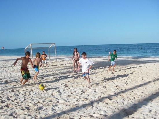 The Reserve at Paradisus Palma Real:                   Main Beach Soccer CanAm Vs Argentina  CanAm wins!!