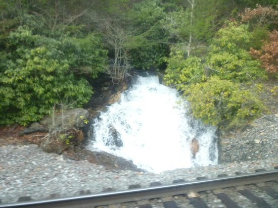 Lehigh Gorge Scenic Railway:                   Small waterfall along the train ride