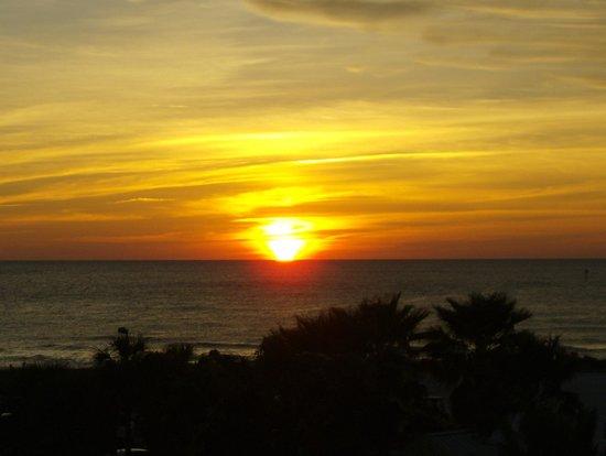 Seaside Inn & Suites:                   Breathtaking sunset from balcony.