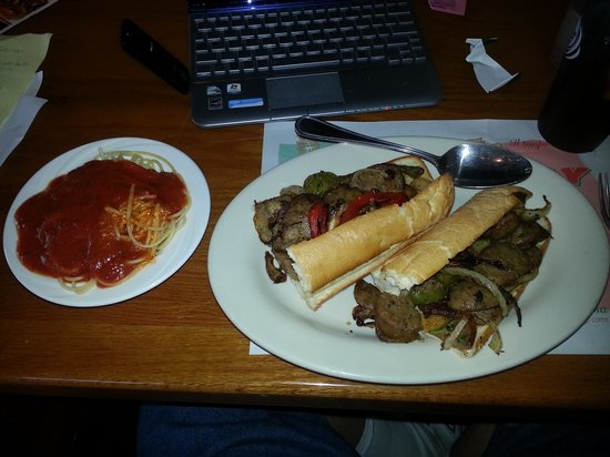 Champinos :                   homemade Italian sausage sandwich. Hey Betsy substitute a side of spaghetti wi