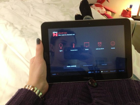 citizenM London Bankside:                   The Samsung tablet that controlled the room/TV