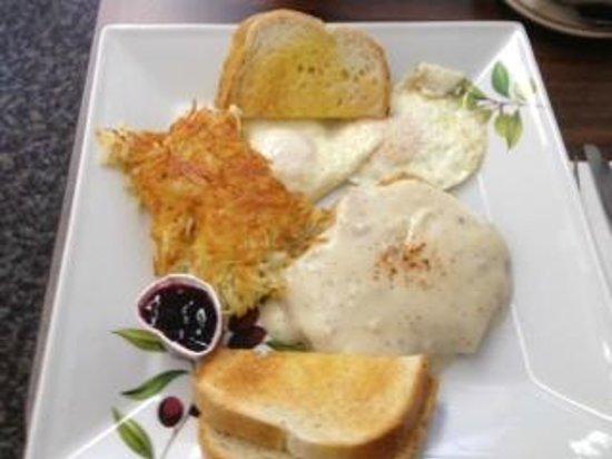 Mountain Cafe:                   Chicken Fried Steak & Eggs, Hashbrowns, Toast